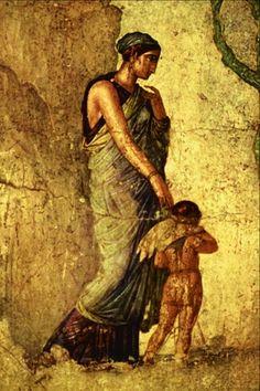 Peinture de Pompéi representant Eros, puni par la déesse Vénus