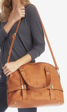 Camel bowler bag with detailed hardware