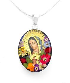 Sterling Silver Virgin of Guadalupe Mary Natural Flowers Pendant Taxco Mexico #Handmade #VirginofGuadalupe