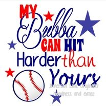 My Bubba Can Hit Harder Than Yours Tee - Baseball Sister Monogram - T-Shirt Can be personalized with a number inside the baseball - $20