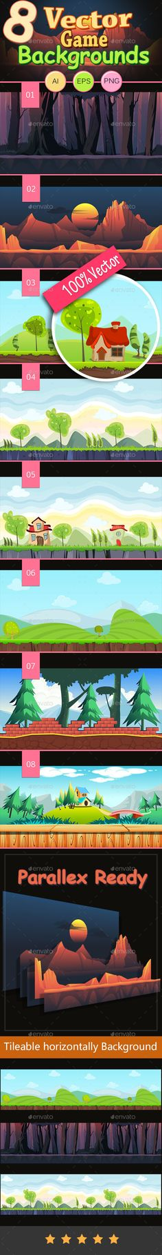 8 Vector Game Backgrounds — Vector EPS #peak #scroller • Available here → https://graphicriver.net/item/8-vector-game-backgrounds/9932437?ref=pxcr