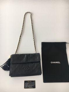 99658ccab502 Authentic Vintage Chanel Black Lambskin Flap Chain Tassel Bag Chanel Price,  Chanel Online, Chanel