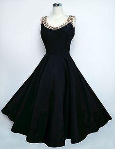 Vintage 50s EMMA DOMB Black Taffeta Dress Pink Satin Pearls & Beads Circle Skirt