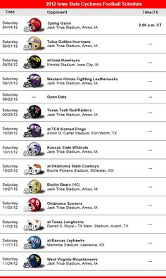 Iowa State Cyclones 2012 Football Schedule