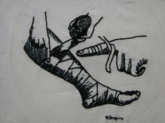 """Fig. 22 How to Bandage embroidery on muslin, 2006 5 1/2"""" x 7"""""""
