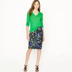 J Crew Watercolor Garden Pencil Skirt Size 2 Making Things Convenient For The People Skirts Clothing, Shoes & Accessories