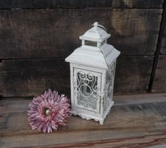 Ornate Metal Lantern ~ Distressed Creamy White Gold Accents ~ Tea-Light tealight Candle Holder ~ Wedding Centerpiece Elegant Decor on Etsy, $32.99