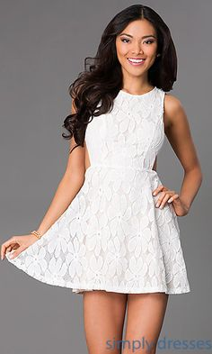 7a999a9c05 Short Sleeveless Lace Dress with Side Cut Outs at SimplyDresses.com Short  Semi Formal Dresses