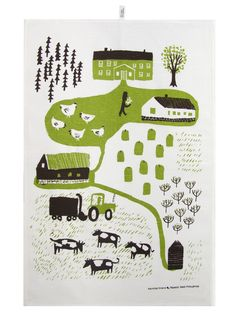 farm map - dish towel