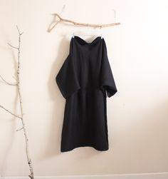 batwing black linen dress by anny schoo