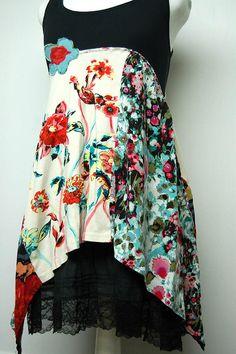 Boho Upcycled Clothing Artsy Dress Boho Chic Clothing Eco