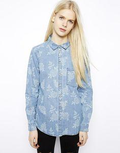 Monki Printed Denim Shirt