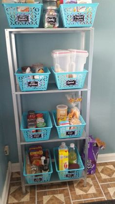 No-Pantry Solutions-Organize pantry food for $24. Bins and labels from dollar tree. Shelf is from IKEA.
