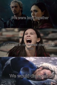We were born together and never in my wildest dreams did I think we would die apart // Wanda and Pietro Maximoff Marvel Fan, Marvel Heroes, Marvel Characters, Marvel Movies, Marvel Avengers, Avengers Quotes, Marvel Quotes, X Men, Wanda Marvel