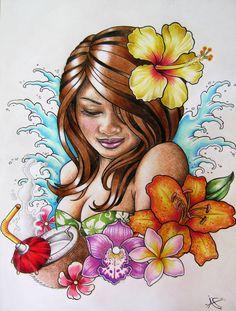 Hawaiian Hula Girl Tattoo Design by Frosttattoo on DeviantArt Maori Tattoos, Hawaiianisches Tattoo, Maori Tattoo Designs, Tattoo Designs For Girls, Wing Tattoos, Celtic Tattoos, Chest Tattoo, Sleeve Tattoos, Hawaiian Girl Tattoos