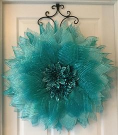 Teal Flower Wreath Flower Wreath Spring Wreath Summer