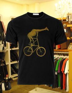 Giraffe on tall Bike design for men and women t by clonerainbow, $18.00