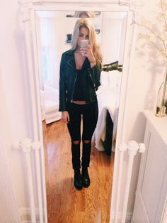 ootd - kohls jeans (ripped myself), hm tank top, brandy melville leather jacket, topshop chelsea boots xx (not pictured that im bringing) urban outfitters scarf and black brandy cardigan | More outfits like this on the Stylekick app! Download at http://app.stylekick.com
