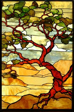 Landscape quilt influenced by Tiffany