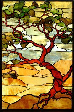 Southwestern Landscape ... Leaded glass window by Theodore Ellison More