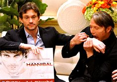 "Hannibal TCA's 1/19/2014 Hugh's face though, ""oh don't mind me, just being gnawed on by Hannibal..."""