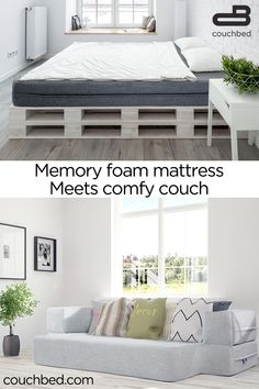 CertiPur memory foam mattress with a 10 year warranty. Flips to a couch in seconds. The comfort of a cool-gel memory foam mattress, and the functionality of 2 pieces of furniture. The CouchBed is a… Decor, Furniture, Home, Comfy Couch, Home Furniture, Bedroom Design, Tiny House Furniture, Home Decor, Room