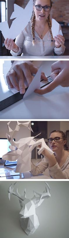 This DIY 3D paper deer head is a great modern home decor project for anyone who likes crafts.  Find more DIY here ---> http://fabulesslyfrugal.com/category/frugal-living/diy/