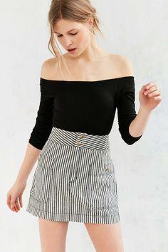 cf357be55f5 Silence + Noise Blair Railroad Stripe Mini Skirt  urbanoutfitters   MockingbirdStation High Waisted Skirt