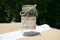 Rustic Mason Jar with Burlap and Vintage Lace Trim Jute Bow - pinned by pin4etsy.com