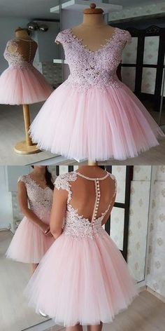 Outstanding Tulle V-neck Neckline A-line Homecoming Dresses With Cap Sleeves on Luulla Dama Dresses, Lace Party Dresses, Quince Dresses, Quinceanera Dresses, Tulle Dress, Pink Dresses, Pretty Homecoming Dresses, Pretty Dresses, Elegant Dresses