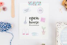 Papelaria open house/chá de casa nova/chá de panela | Festa, Papel e Tesoura | bridal shower, open house, watercolor invitation