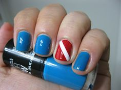 Dive Flag Manicure! I can't believe I never thought of SCUBA diver nail art before now. :)