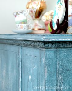 Salvaged Inspirations | Turquoise French Country Sideboard Re-Do w HCMP and Glaze