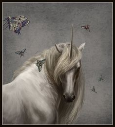 unicorn and butterfiles