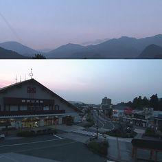 日光連山と東武日光駅  日光揚げゆばまんじゅう本舗さかえやからの画像です。