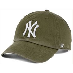 47 Brand New York Yankees Olive White Clean Up Cap (£21) ❤ 01278c02d22