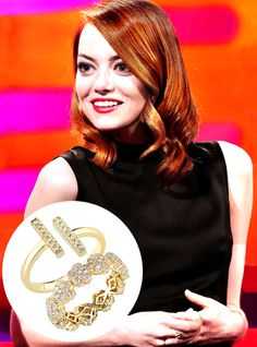 Emma Stone on The Graham Norton Show in our Karly Beth & Sylvie Rose Double Bar Ring
