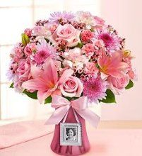 Sweet Baby Girl ™ Arrangement A precious baby girl is here…and you couldn't be happier! Express your joy and excitement by sending the proud new parents this delightful pink bouquet filled with roses, New Baby Flowers, 800 Flowers, Mothers Day Flowers, Wedding Flowers, Pink Flowers, Mother's Day Bouquet, Rose Bouquet, Beautiful Flower Arrangements, Beautiful Flowers