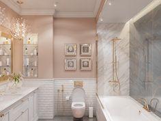 Pastel pink bathrooms, hot pink bathrooms, pink bathroom tiles, pink bathroom sets, pink basins and pink vanities. These pink bathroom ideas have it all & more. Hot Pink Bathrooms, Pink Bathroom Tiles, Pink Bathrooms Designs, Brown Bathroom, Blush Bathroom, Modern Bathroom, Pink Bathroom Accessories, Murs Roses, Textured Wall Panels