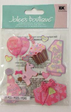 Jolees Boutique Scrapbooking Dimensional Stickers EK Success 1st Birthday Girl | eBay