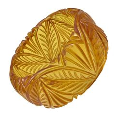 """Gorgeous Wide Carved """"Apple Juice"""" Bakelite Bangle 