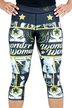 Wonder Woman Black/Gold Capris