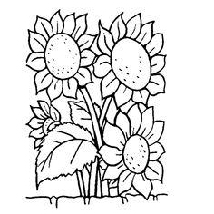Leuk voor kids kleurplaatZonnebloemen