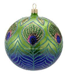 David Strand for Kurt Adler, Peacock Ball Glass Ornament, $55.99 ... it takes your breath away!