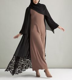Black Georgette Kimono With Lace Hem - £56.90 : Inayah, Islamic Clothing & Fashion, Abayas, Jilbabs, Hijabs, Jalabiyas & Hijab Pins