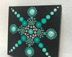 Mandala Original Painting on Canvas Dotilism Dot Painting Mandala Canvas, Mandala Painting, Dot Painting, Acrylic Painting Canvas, Mandala Art, Canvas Art, Painted Rocks, Hand Painted, Meditation Art