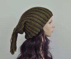 Handknit hat in Kiwi Green