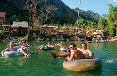 inner tubing the Nam Song River in Vang Vieng, Laos