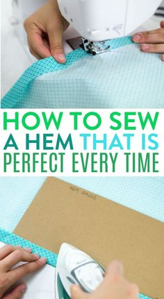 Hemming may be the most common technique needed in sewing. So in  this post, I am going to completely break down how to sew a hem that is  perfect every time. #sewing #sewingideas  #sewingprojects #easysewingideas #sewingprojectsforbeginners  #sewingforbeginners #sewingprojectsforteens #easysewingideas Sewing Hems, Sewing Clothes, Sewing Projects For Beginners, Sewing Tutorials, Sewing Stitches, Sewing Patterns, Fabric Crafts, Sewing Crafts, Sewing Basics
