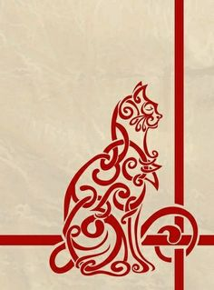Celtic cat - beautiful! I'd love a wallpaper border with... / i heart cats - Juxtapost